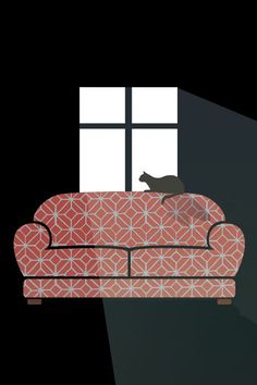 Lazy Day Illustration #kitten #pattern #couch #cat #warm #illustration #vintage #kitty #window #light