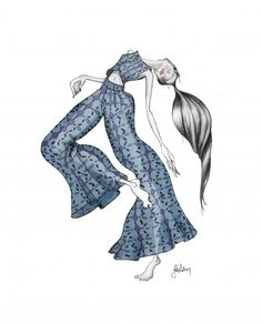 #fashionillustration #illustration #model #girl #woman #blue #pants #suit #colors #sketch #graphite #barefoot #pattern #hair #painting