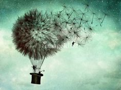 The business men's goodbye #illustration #hat #flight #balloon #dandelion