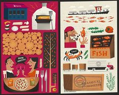 'Zizzi' Illustrated Menu Cover by Peter Donnelly, via Behance