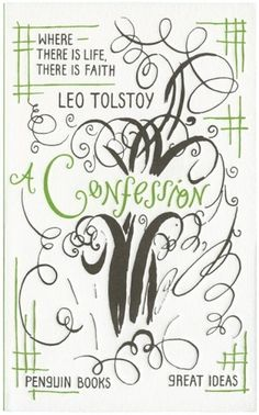 The Book Cover Archive: A Confession, design by David Pearson #tolstoy #book #cover #drawn #penguin #typography