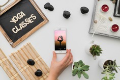 Peaceful yoga decoration with smartphone Free Psd. See more inspiration related to Mockup, Spa, Health, Cute, Yoga, Smartphone, Chalkboard, Mock up, Plant, Decoration, Cactus, Bamboo, Healthy, Decorative, Peace, Mind, Balance, Relax, Pot, Meditation, Wellness, Healthy lifestyle, Lifestyle, Up, Tablecloth, Stones, Relaxation, Composition, Mock, Peaceful and Inner on Freepik.