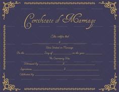Editable Marriage Certificate (Purple, Gold)