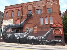 photo #graffiti #roa #alligator #atlanta #wall
