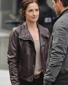Minka Kelly Almost Human Leather Jacket (2)