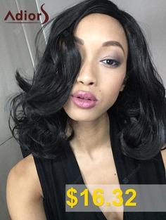 Adiors #Medium #Curly #High #Temperature #Fiber #Wig #- #BLACK