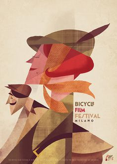 Bicycle Film Festival Milano poster by Riccardo Guasco. #inspiration #illustration #design #poster