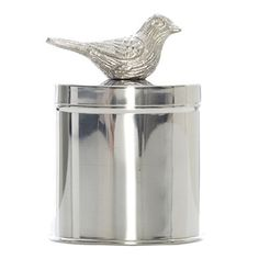 Camelot Silver Canisterw Bird on Lid, 25 cm