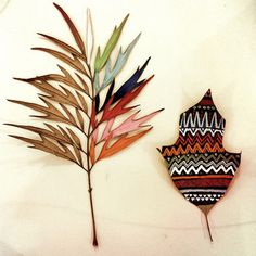 Art Meets Nature: Painted Leaves by Gabee Meyer Photo #painting #pattern #leaf #leaves #ethno