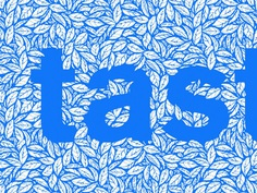 Tea Type leaves repeat pattern dimensional masked letter lettering food flavor