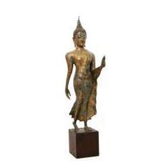 Excellent Bronze in the 'Walking Buddha'. THAILAND/AYUTTHAYA (1351-1767), 16. Century