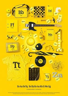ABC on the Behance Network #design #graphic #yellow #letter #identity #poster