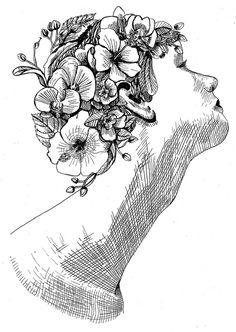 flowers giraffe for TEMA MAGAZINE #illustration #cover #bw #flowers #giraffe #friends