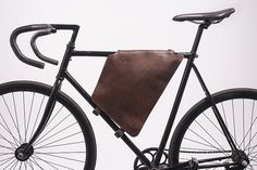 Brown leather cycling bag