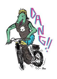Dang Dino on Behance by Jon Garza #illustration #moto #skull #dino