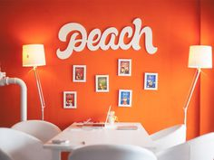 Logo: Peach #sign #type #wood #brand #peach #wall #logo