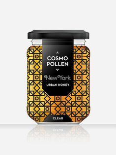 Cosmopollen Urban Honey (New York) - Louise Twizell #abstract #louise #white #pattern #branding #simplistic #packaging #label #black #simple #food #brand #jar #architecture #honey #labelling #taste #package #twizell
