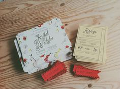 Rachel and Nick's Wedding Invitations #postcard #wedding #invitation