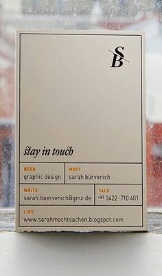 lovely stationery sarah machtsachen2 #business card #minimal