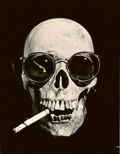skull with cigarette and sunglasses