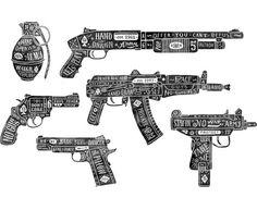 Hand-drawn guns on Behance, Anton Gorbunov