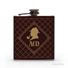 Sherlock Holmes Personalized Monogram 6oz Liquor Hip Flask #doyle #sherlock #flask #conan #author #holmes #sir