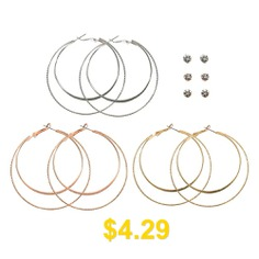 Fashion #Gold #and #Silver #Rose #Gold #Circle #Earrings #Set #- #GOLD