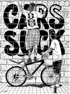 Mike Giant bike graffiti illustration