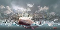 Web design and large background for http://alfoart.com/portfolio.html home page. Portfolio page contains Parallax, animation effects. #ocean #whale #portfolio #sea #art #waves