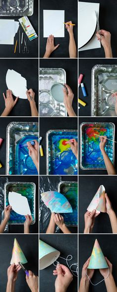 Marbleized Party Hats DIY | Oh Happy Day! #crafting