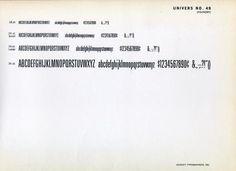 A specimen of Adrian Frutiger's classic Univers 49. #type #specimen
