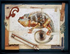 владимир гвоздев & gvozdariki #steampunk #mechanical #illustration #iguana #sketch