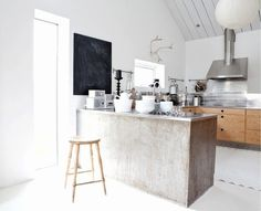 crisp, clean, rustic, kitchen