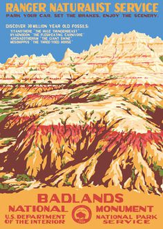 Badlands National Park #poster #travel #adventure #national parks #wpa #south dakota #badlands #badlands national park