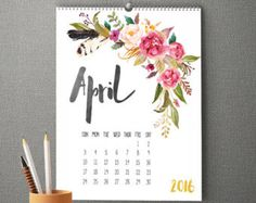 April, calendar, flower pattern
