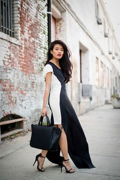 Kaelen Two Tone Dress, Zara Bag #fashion #photography #woman #beauty