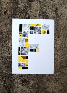 The Letter F #print #yellow #screenprint #screen #letter #alphabet #type #typography