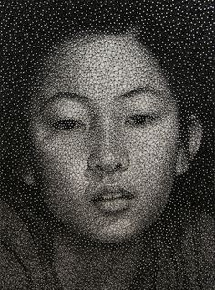 Remarkable Portraits Made with a Single Sewing Thread Wrapped through Nails by Kumi Yamashita | Colossal #string #art