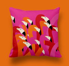 Flamingos pattern by Mariya Zhinoteva #pillowcover #flamingos #illustration #print #textile #pillow