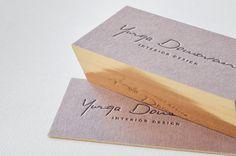 Brown letterpress business card with gilded edge #letterpress #gold #edges #interior #designer