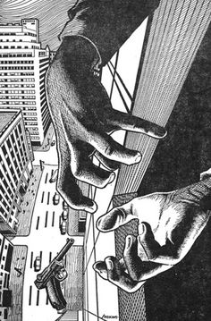 this isn't happiness™ (I hate when that happens), Peteski #ink #ledge #gun #print #falling #comic #illustration #skyscraper #hands #window