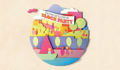 tacoma block party poster #cut #illustration #paper