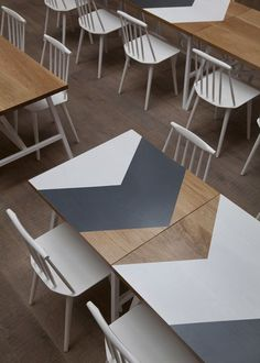 chairs & table #interior #white #chair #wood #arrow #table #grey