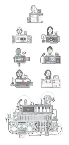 Dbx machines 01 #animation #clean #simple #illustration #cartoon #instruments #characters