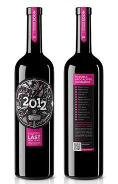 STUDIOIN New Year Wine on the Behance Network #year #bottle #pink #2012 #label #wine #packagingdesign #new