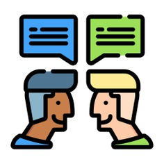 See more icon inspiration related to talk, conversation, chat, negotiating, chatting, users, communications, speech bubble, bubble speech, message, interface, communication and people on Flaticon.