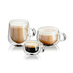 The Cafe Glass Sets are sleek and sophisticated double-walled glasses. Made from borosilicate glass, they are scratch and heat resistant up to 212°F. Because of its double wall design, iced drinks stay cold longer; and hot drinks stay hot while the outer surface remains cool to touch.