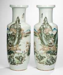 Pair of large vases with landscape decor #Sets #Tea sets #Porcelain sets #Antique plates #Plates #Wall plates #Figures #Porcelain figurines #porcelain