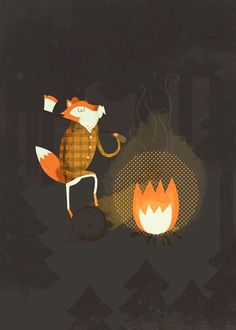 Fox by Blake Suarez #fox #camping #texture #illustration #fire #poster #blake #suarez #forest