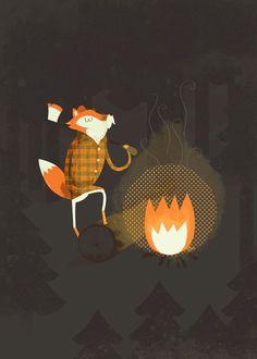 Fox by Blake Suarez #fox #camping #texture #illustration #fire #poster #blake #suarez #forest